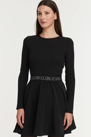 jurk met logo en plooien zwart