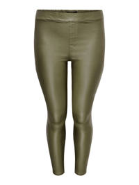 ONLY CARMAKOMA coated high waist skinny tregging CARARGAIN olijfgroen, Olijfgroen