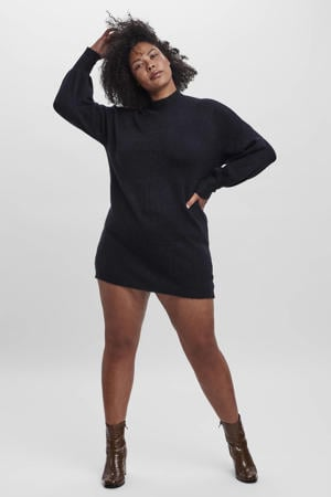 fijngebreide jurk VMLEFILE  zwart