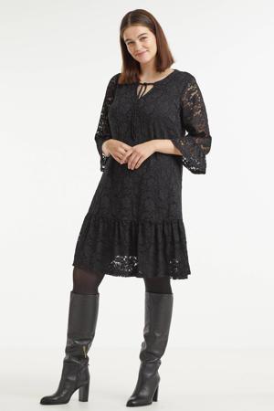 semi-transparante kanten A-lijn jurk KCflowy met kant zwart
