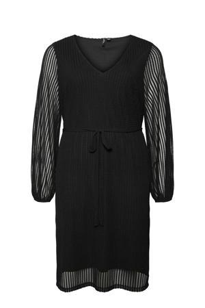 semi-transparante jurk VMELENA met textuur zwart