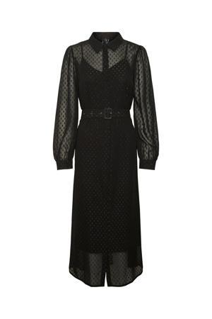 semi-transparante maxi blousejurk VMCAISA van gerecycled polyester zwart