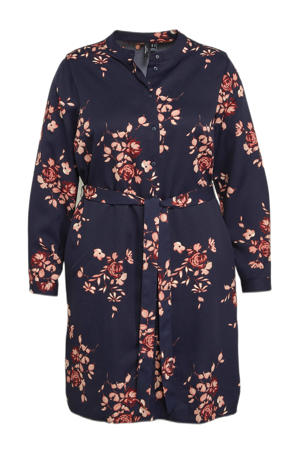 gebloemde blousejurk VMISA  van gerecycled polyester donkerblauw/lichtroze/donkerrood