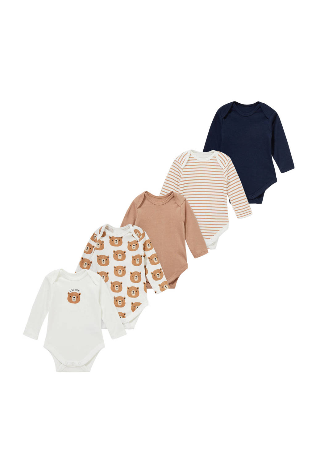 C&A Baby Club romper - set van 5 ecru/bruin/donkerblauw, Ecru