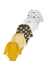 C&A Baby Club newborn baby romper - set van 5 geel/wit/antraciet, Geel/wit/antraciet