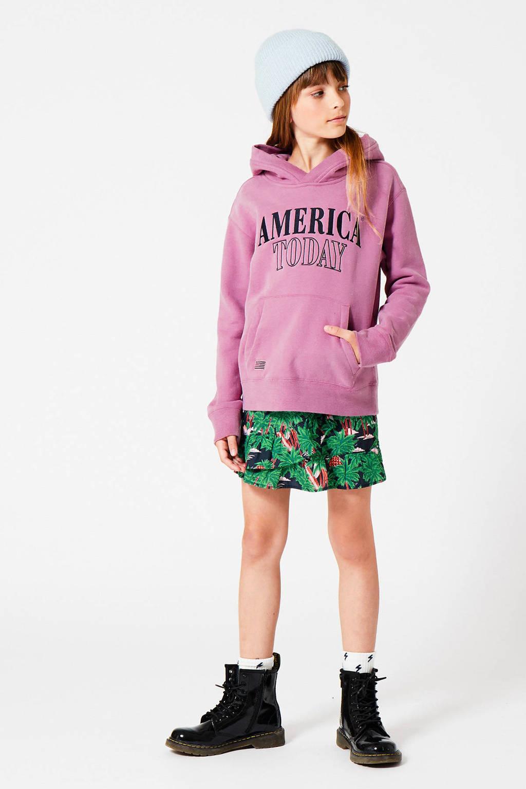 America Today Junior rok Rose-Ann met bladprint groen/blauw/oranje, Groen/blauw/oranje