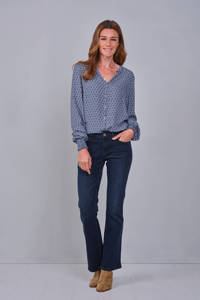 Didi blouse met all over print blauw, 1551-White with darkblue print