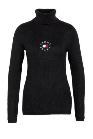 trui van gerecycled polyester zwart