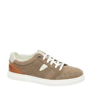 Torino  suède sneakers met slangenprint beige/bruin