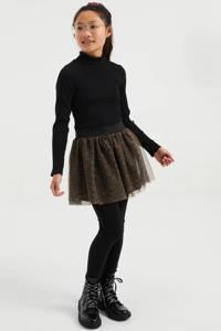 WE Fashion ribgebreide top met col - set van 2 zwart/wit, Zwart/wit