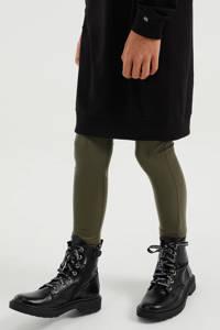 WE Fashion coated legging kakigroen, Kakigroen