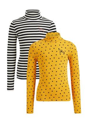 longsleeve - set van 2 - geel/zwart/wit
