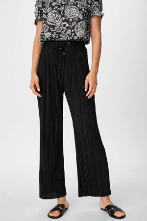 cropped wide leg palazzo broek van gerecycled polyester zwart