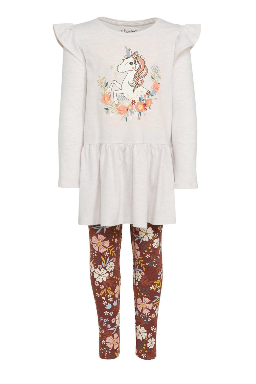 C&A Happy girls Club jurk + legging met bloemen bruin/offwhite, Ecru/bruin