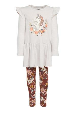 jurk + legging met bloemen bruin/offwhite
