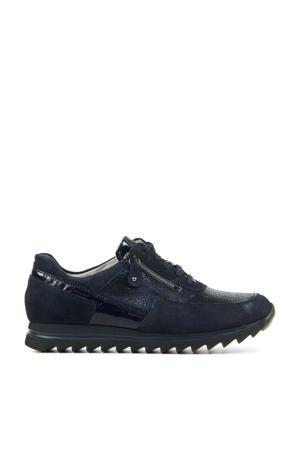 923011 comfort leren veterschoenen donkerblauw