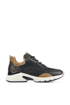57115 Zaira Fae  leren chunky sneakers zwart/bruin