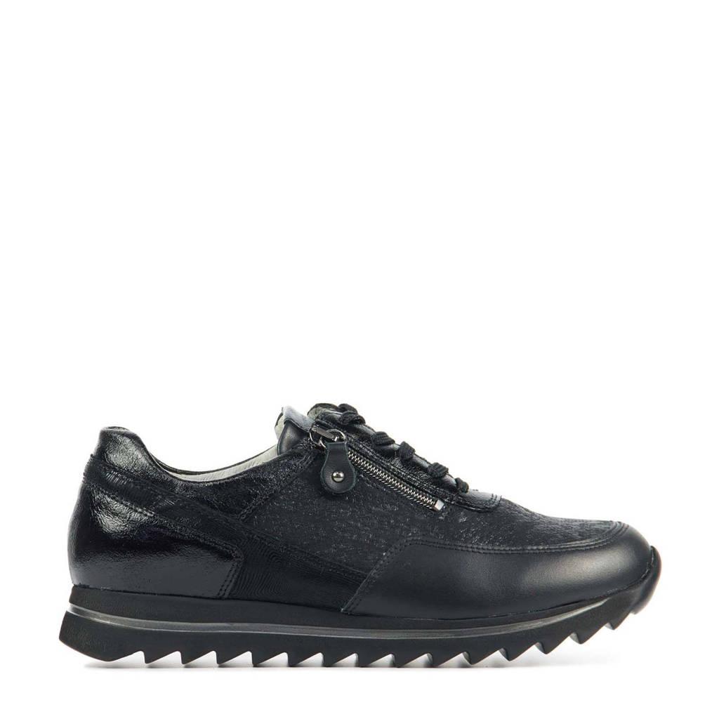 Waldlaufer 923011 comfort leren veterschoenen zwart, Zwart