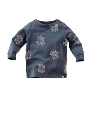 baby longsleeve Negros met all over print donkerblauw/wit