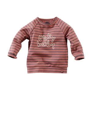 baby longsleeve Timor met tekst roestbruin/donkerblauw/ecru