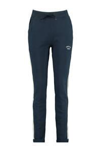America Today gemêleerde slim fit joggingbroek Celina met zijstreep donkerblauw, Donkerblauw