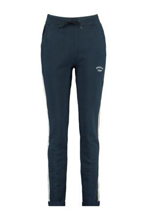 gemêleerde slim fit joggingbroek Celina met zijstreep donkerblauw