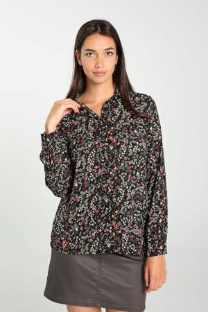 blouse met bladprint zwart/groen/rood/bruin/ecru