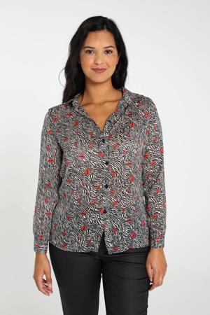semi-transparante blouse met all over print en plooien zwart/wit/rood