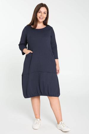jurk met textuur marine