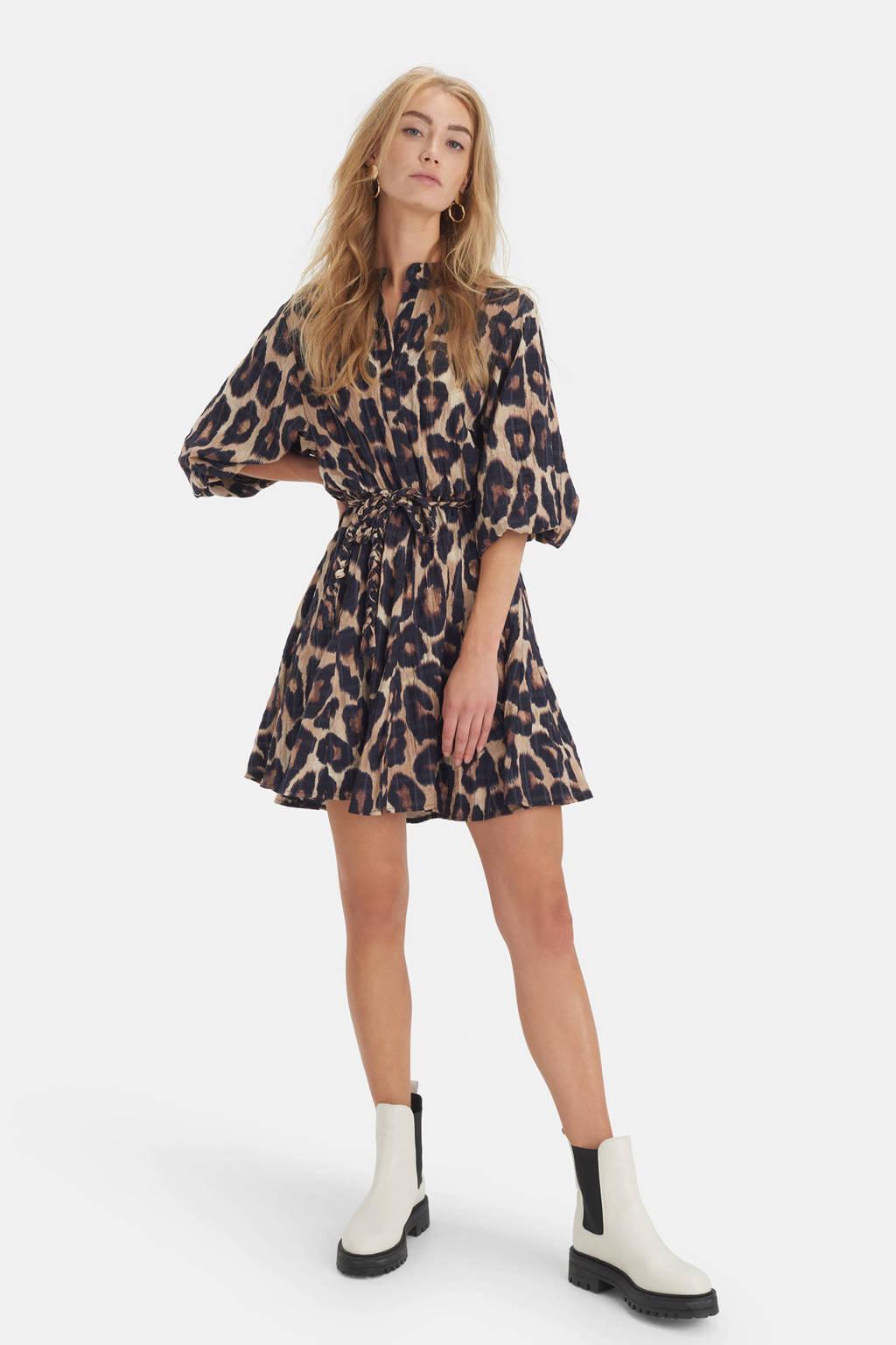 Shoeby Eksept jurk Bowie Leopard met panterprint en plooien bruin/zwart, Bruin/zwart