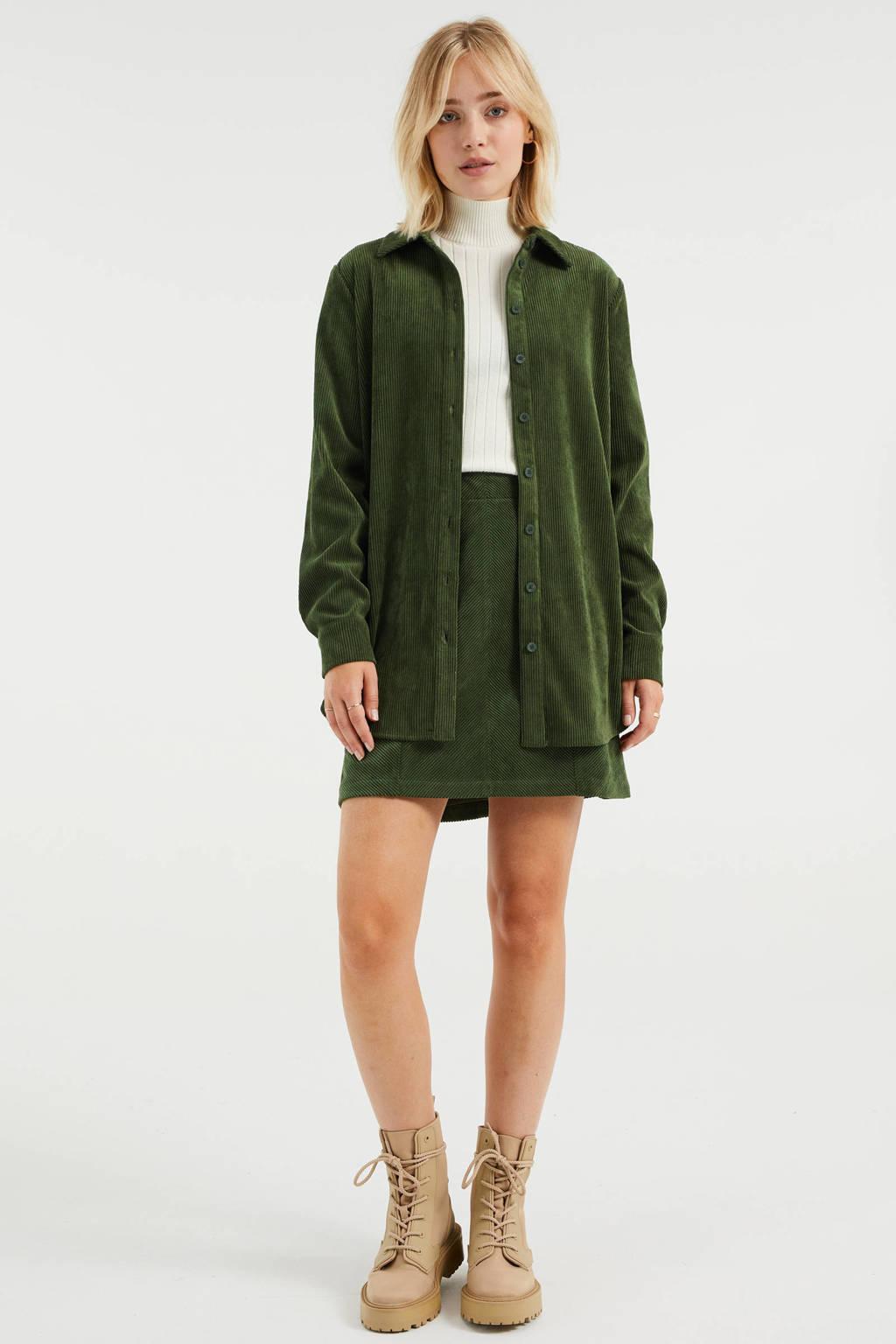 WE Fashion corduroy blouse donkergroen, Donkergroen