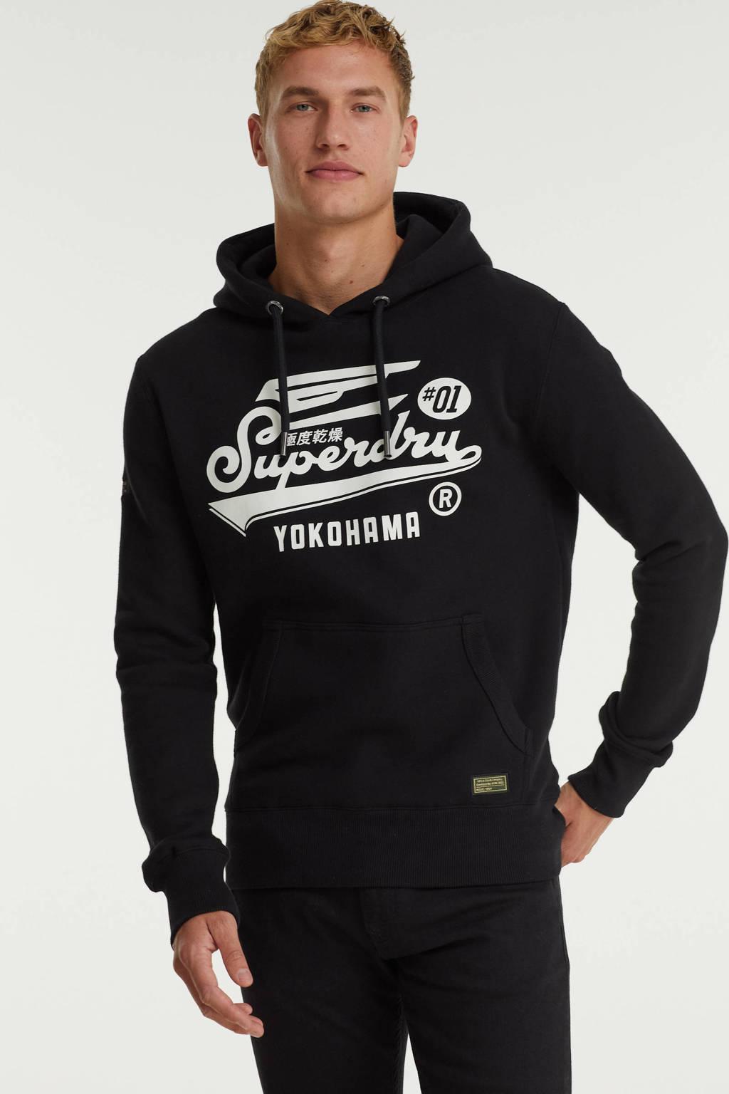 Superdry hoodie met logo zwart, Zwart
