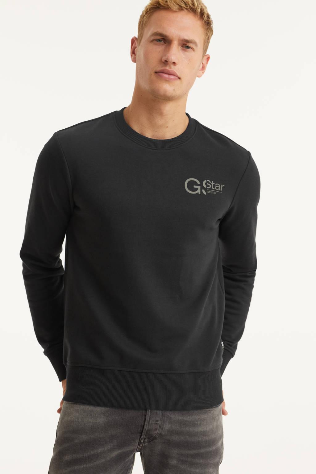 G-Star RAW sweater Graphic met logo zwart, Zwart