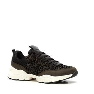 dad sneakers met panterprint kaki