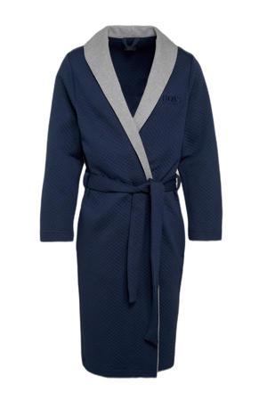 jersey badjas met wafelstructuur donkerblauw/grijs