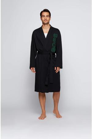 jersey badjas met logo zwart