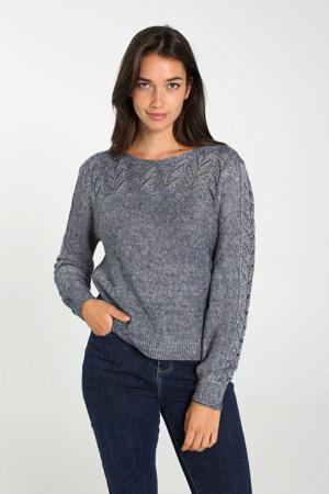 gebreide trui met open detail grijsblauw