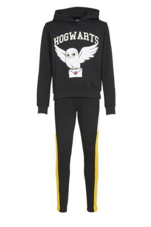 hoodie + broek zwart/wit/geel