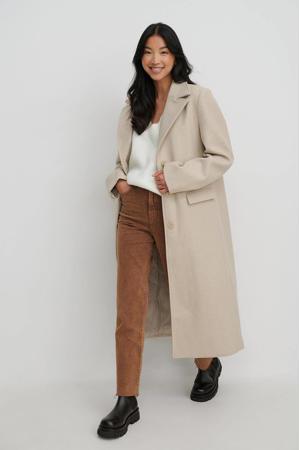 coat met wol gebroken wit