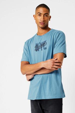 T-shirt East met printopdruk vintage blue