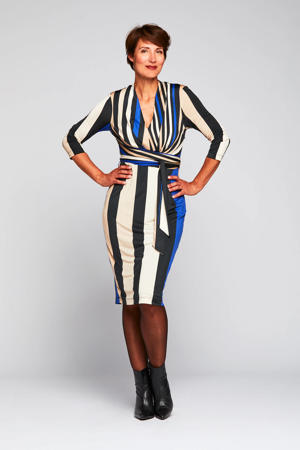 gestreepte jurk Lexine blauw/zwart/zand