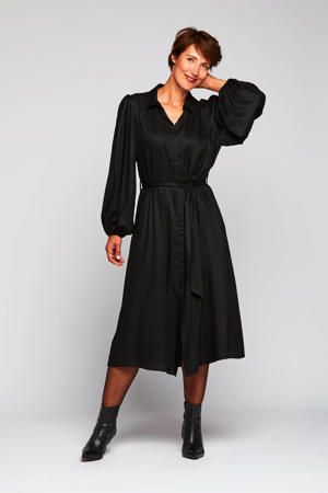 jurk Rafelle met plooien zwart