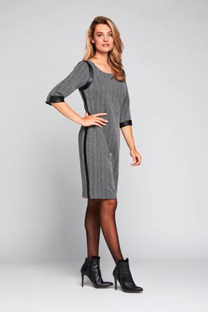 jurk Fins met contrastbies zwart/wit