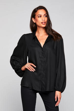 geweven blouse Raf met plooien zwart