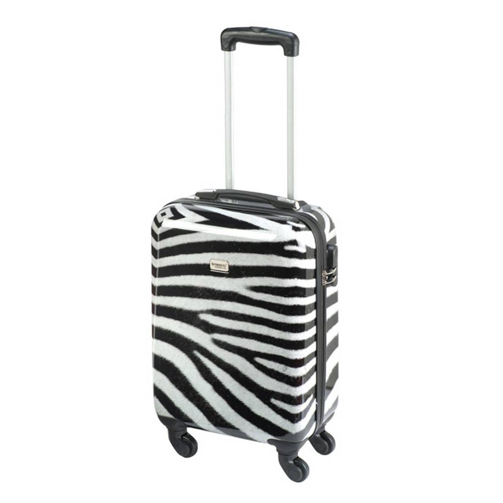 Princess Traveller  trolley Animal S 55 cm. zwart/wit, Zwart/wit