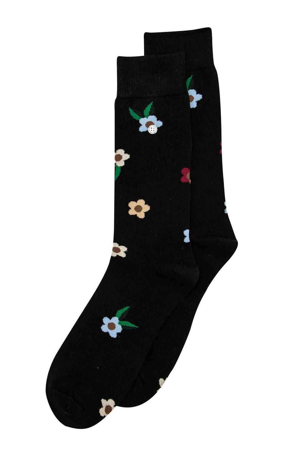 Alfredo Gonzales sokken Flowers zwart, Zwart