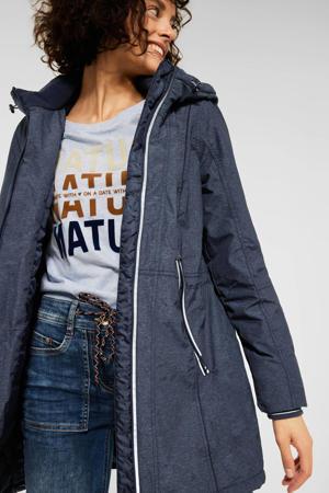 gemêleerde gewatteerde jas donkerblauw/wit