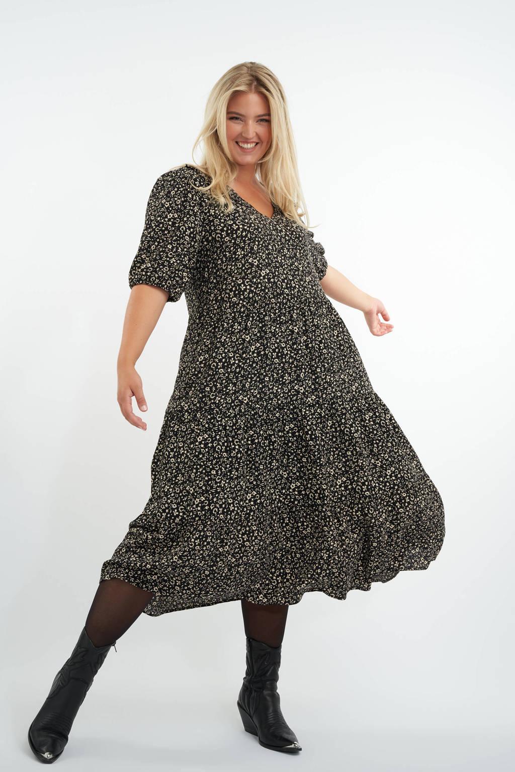 MS Mode A-lijn jurk met all over print en plooien zwart/ecru, Zwart/ecru