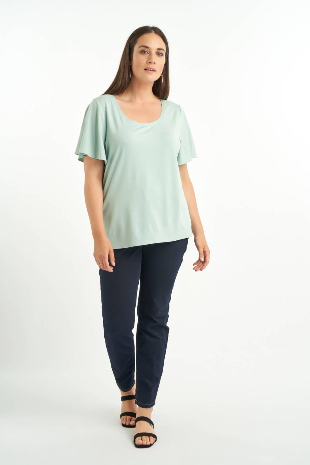 MS Mode T-shirt met volant mintgroen, Mintgroen