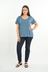 MS Mode T-shirt met volant blauw, Blauw